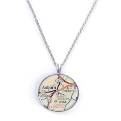 Auburn Map Necklace