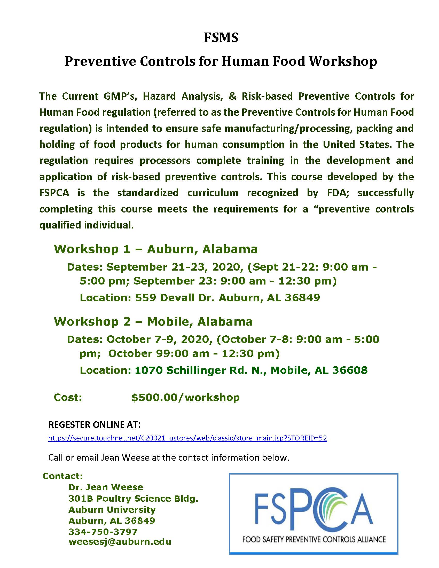 Preventative Controls for Human Foods Workshop