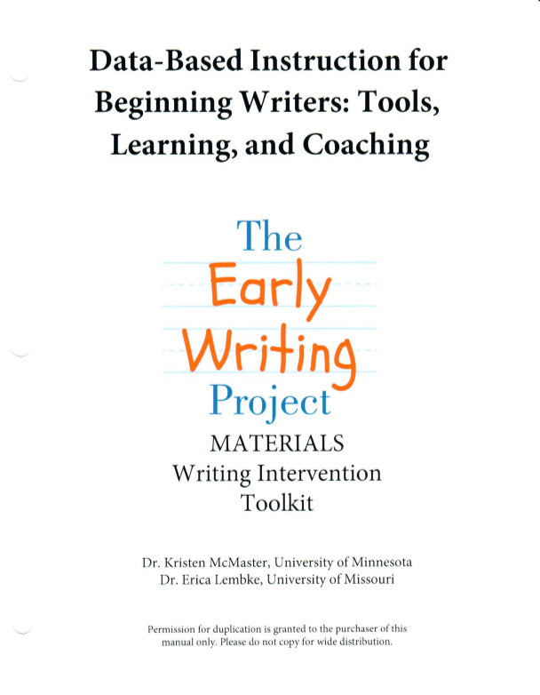 DBI MATERIALS: Writing Intervention Toolkit