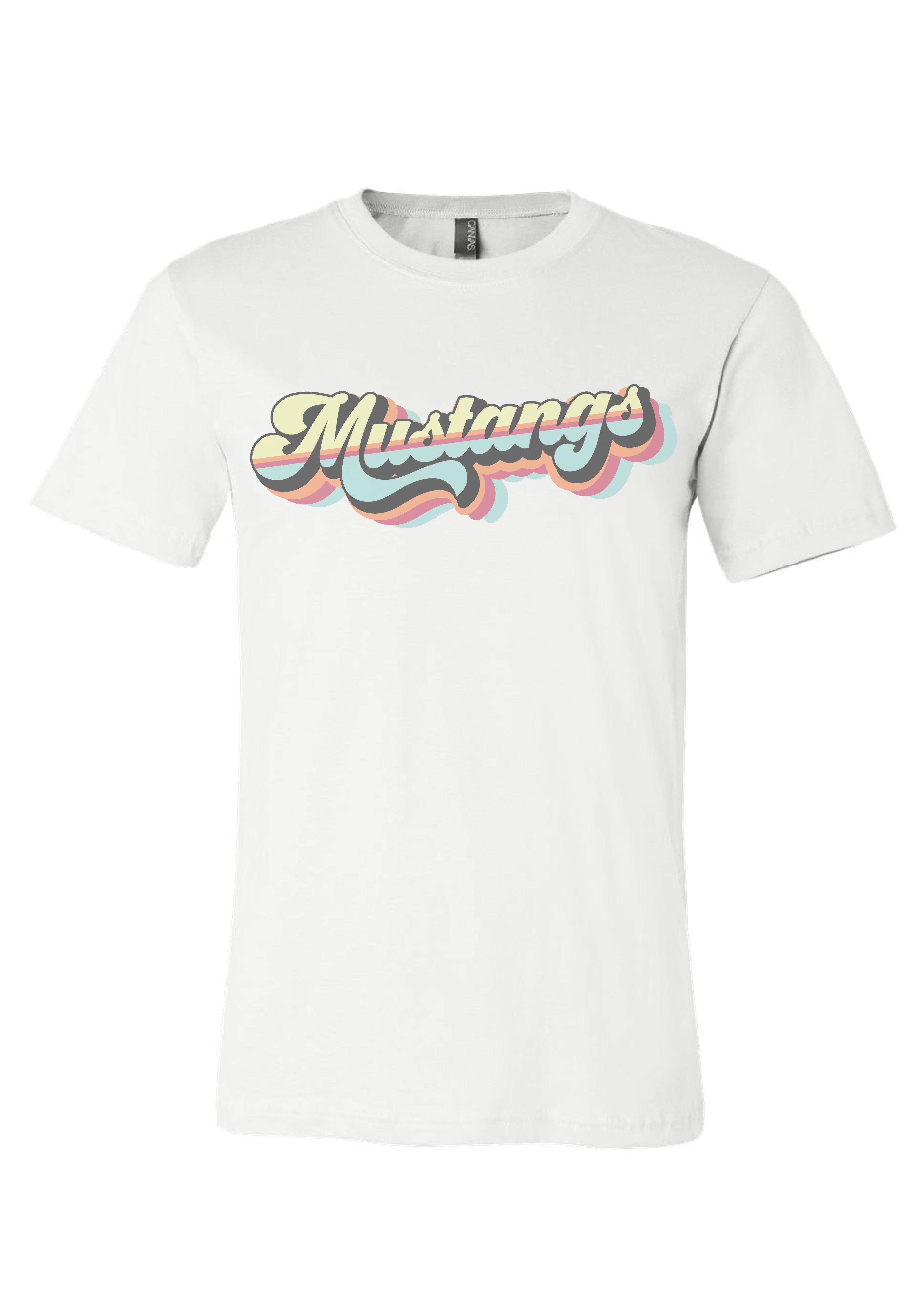 White Retro T-Shirt Mustangs - While supplies last!