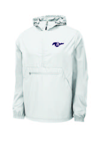 Packable Rain Jacket  Lightweight - White w/ purple Running Mustang