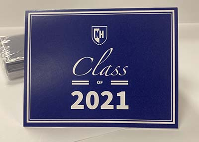 UNH 2021 Graduate Note Card - Blue with Shield