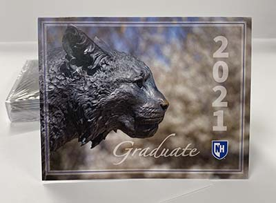 UNH 2021 Graduate Note Card - Wildcat Statue