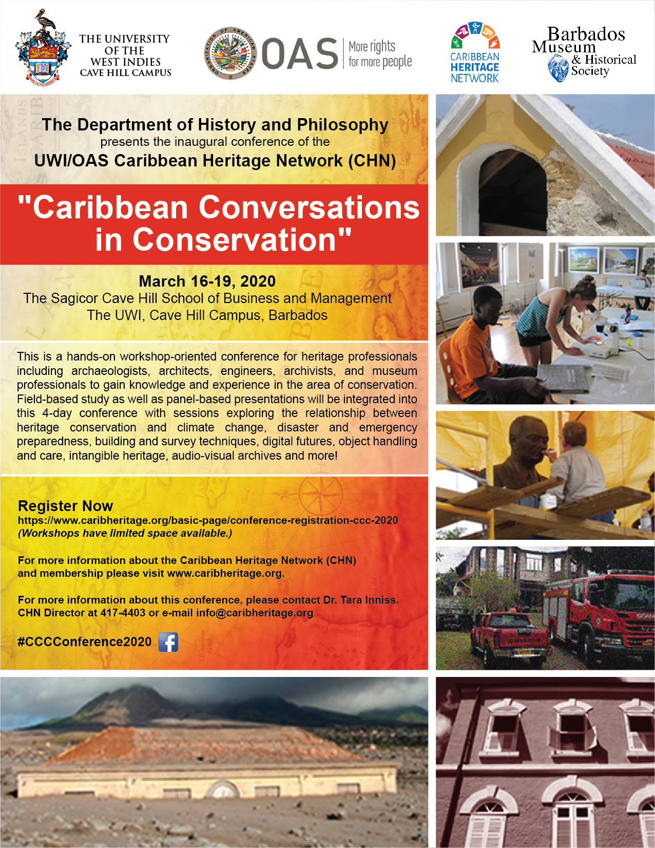 "UWI/OAS Caribbean Heritage Network (CHN) ""Caribbean Conversations in Conservation"" Conference March 16-19, 2020"
